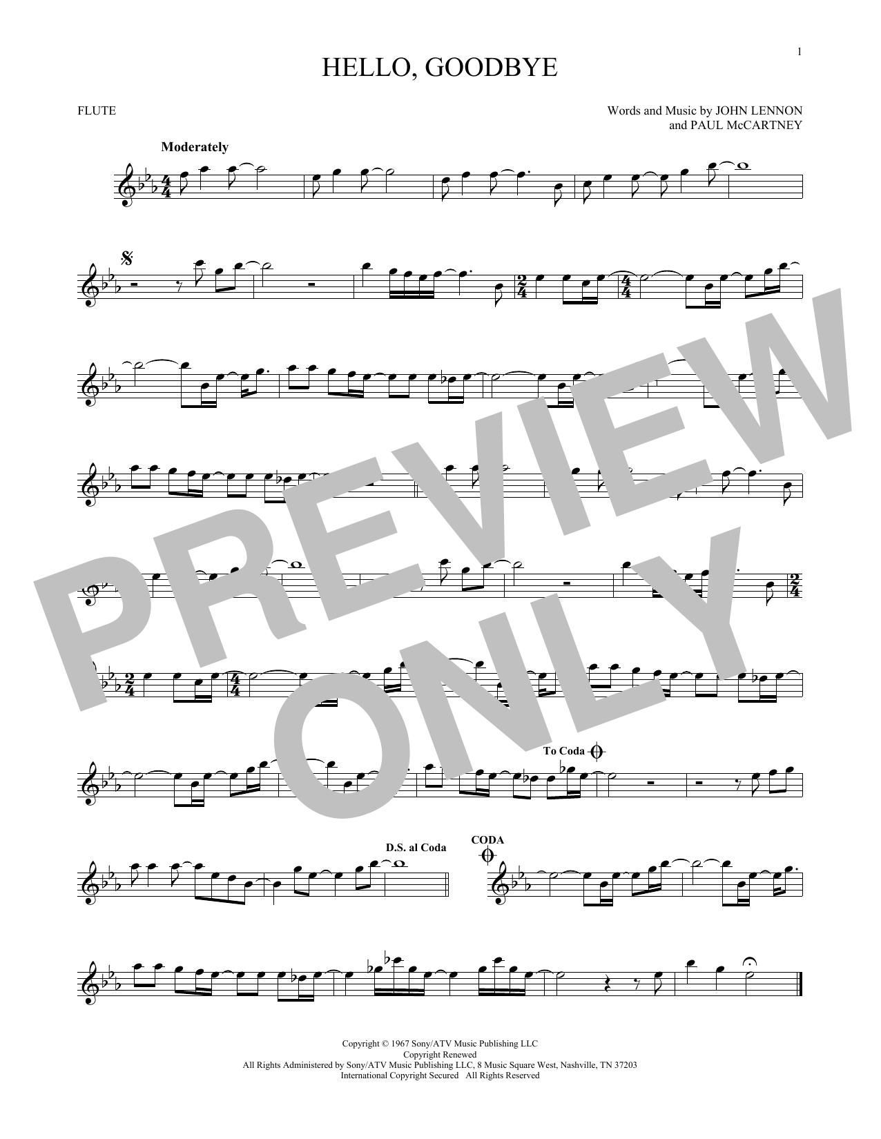 Partition flûte Hello, Goodbye de The Beatles - Flute traversiere