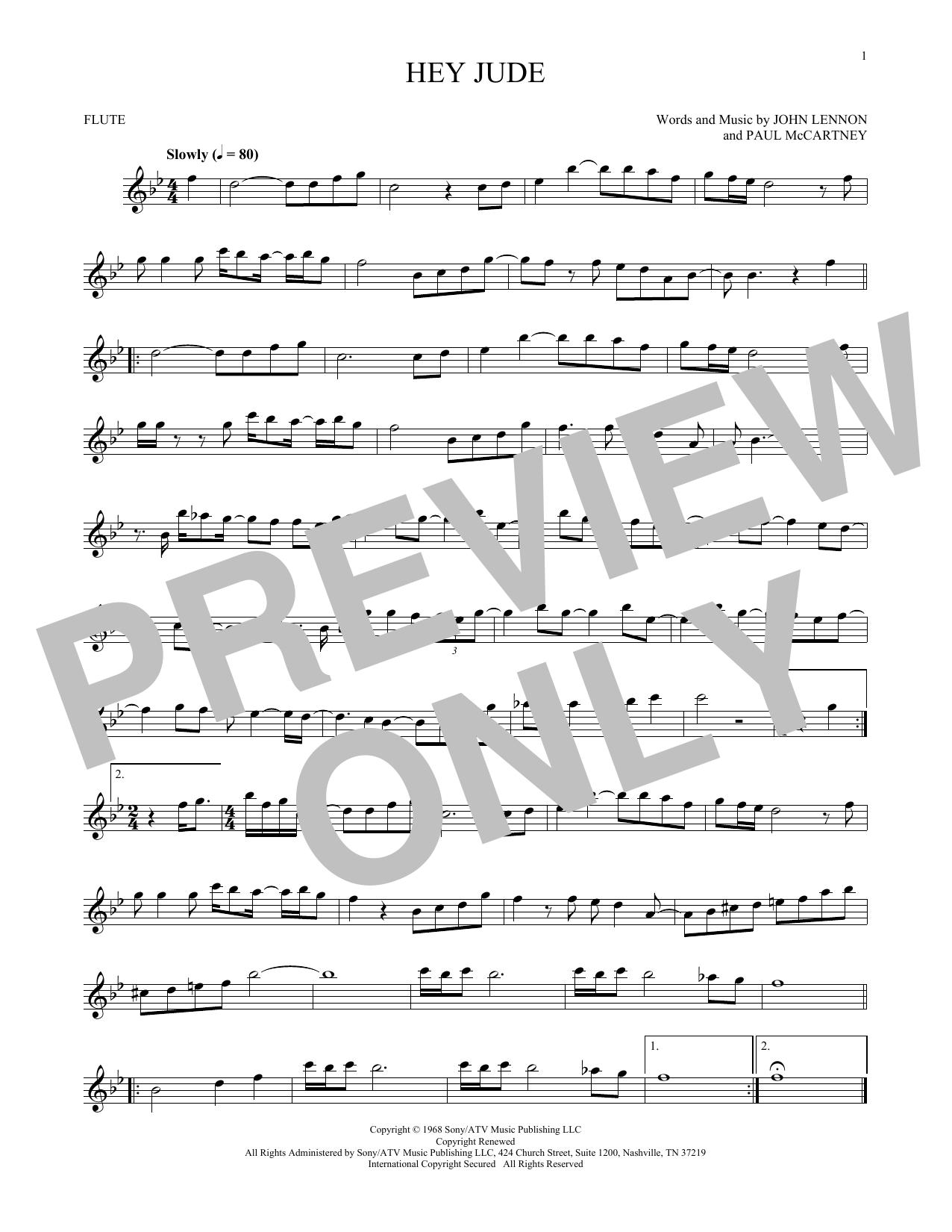 Partition flûte Hey Jude de The Beatles - Flute traversiere