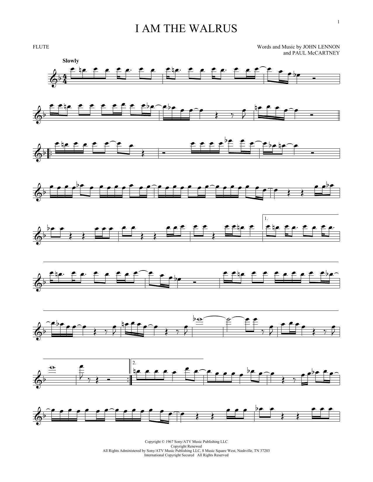 Partition flûte I Am The Walrus de The Beatles - Flute traversiere