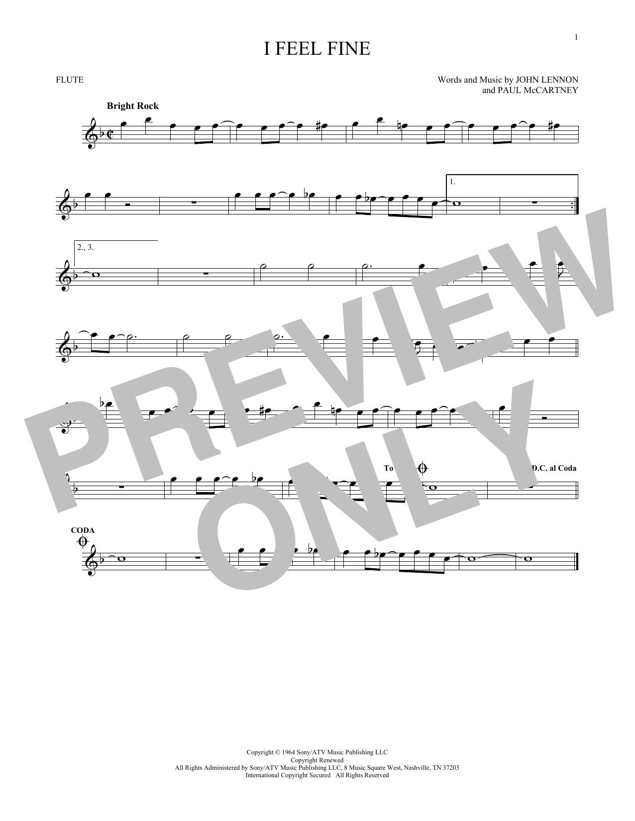 Partition flûte I Feel Fine de The Beatles - Flute traversiere