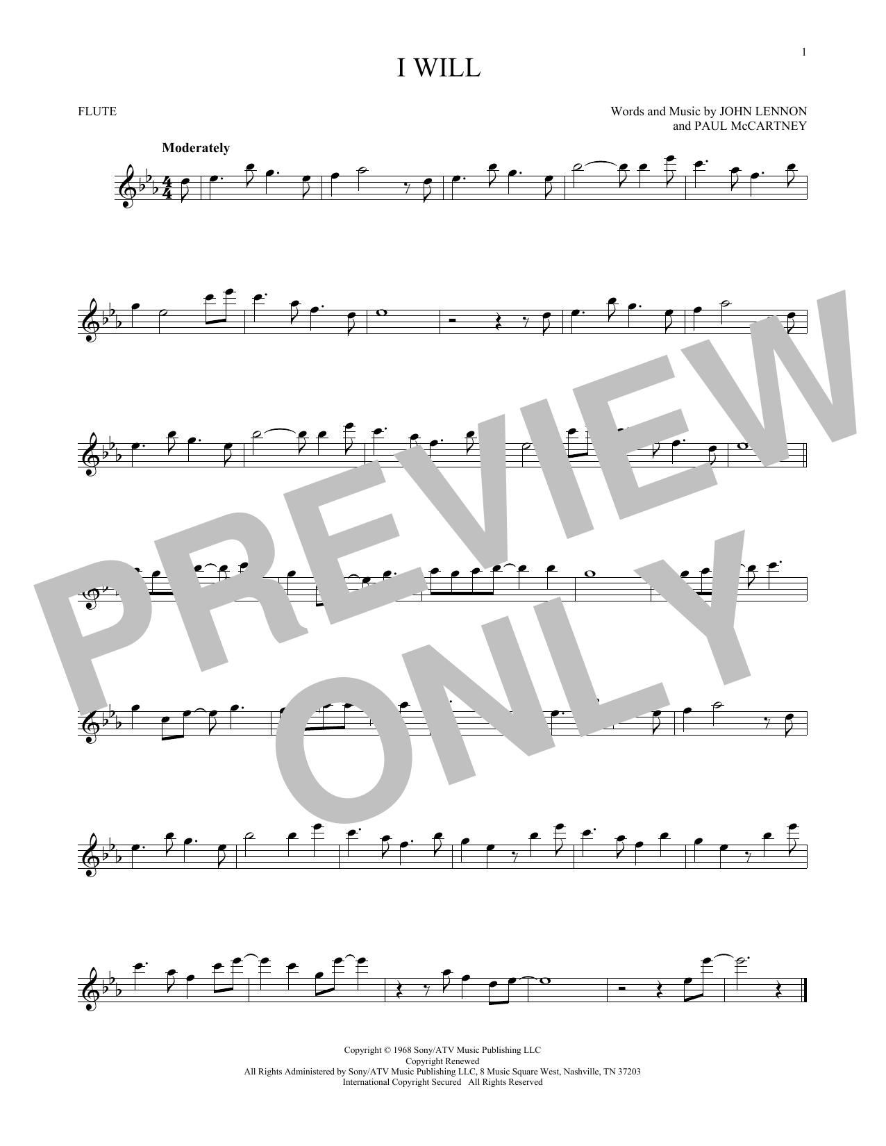 Partition flûte I Will de The Beatles - Flute traversiere