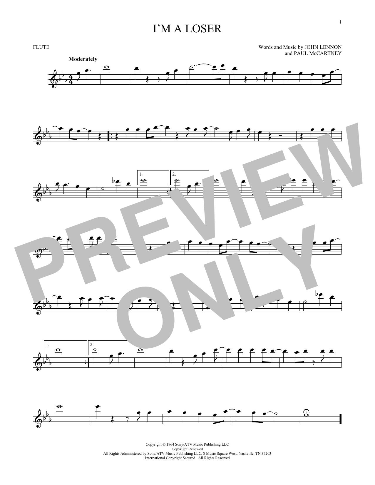 Partition flûte I'm A Loser de The Beatles - Flute traversiere