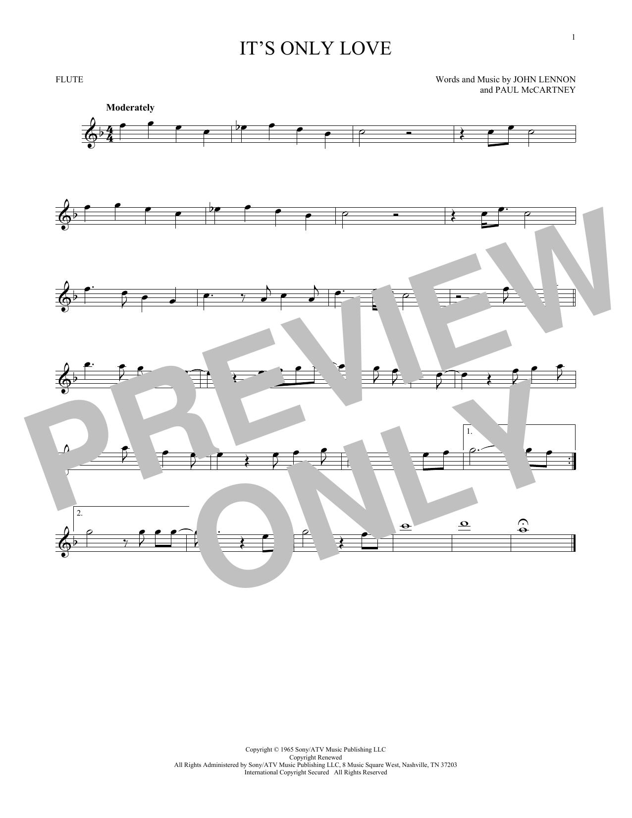 Partition flûte It's Only Love de The Beatles - Flute traversiere