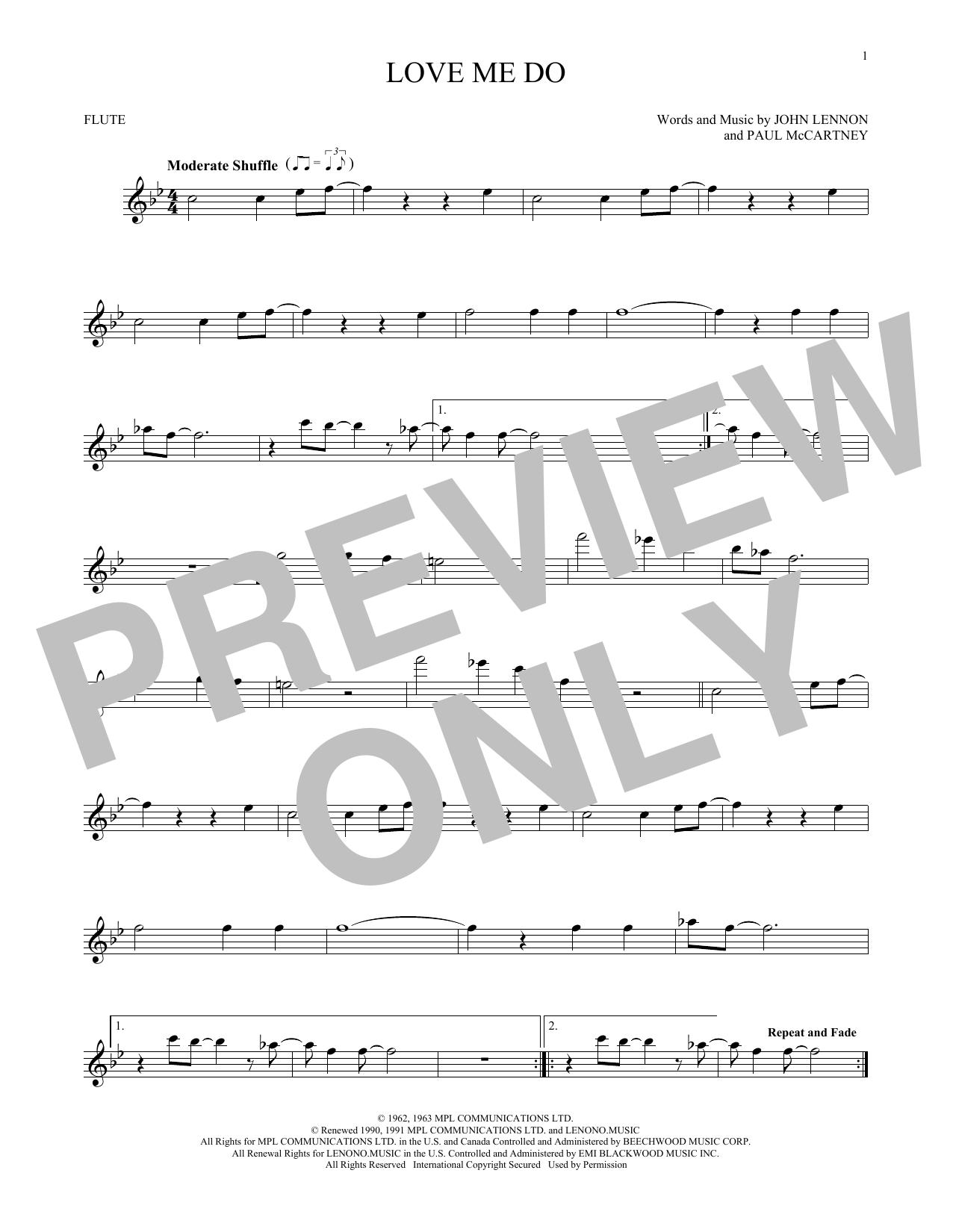 Partition flûte Love Me Do de The Beatles - Flute traversiere