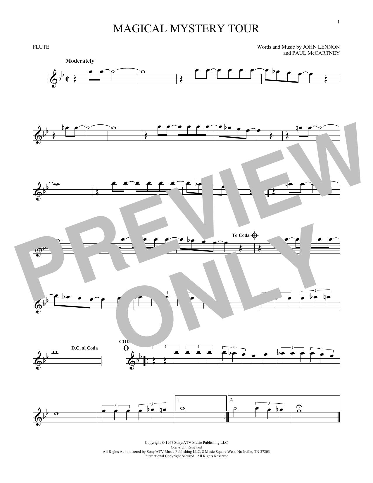 Partition flûte Magical Mystery Tour de The Beatles - Flute traversiere