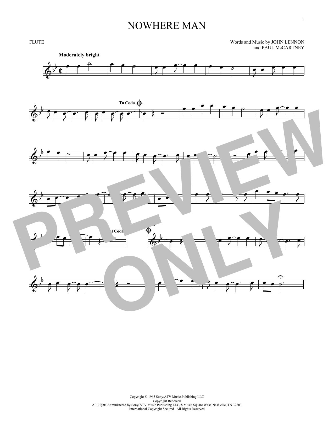 Partition flûte Nowhere Man de The Beatles - Flute traversiere
