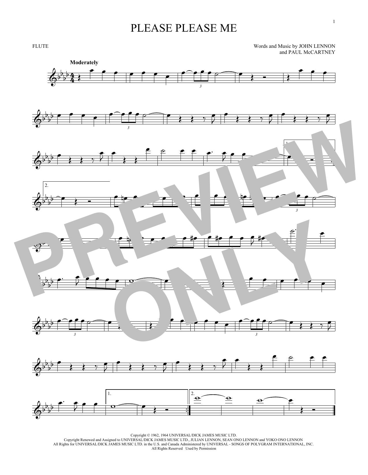 Partition flûte Please Please Me de The Beatles - Flute traversiere