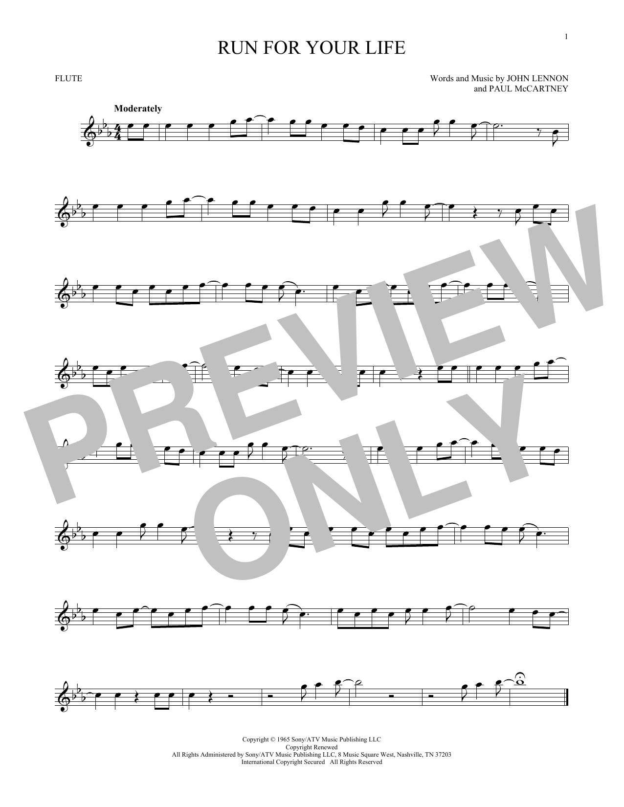 Partition flûte Run For Your Life de The Beatles - Flute traversiere