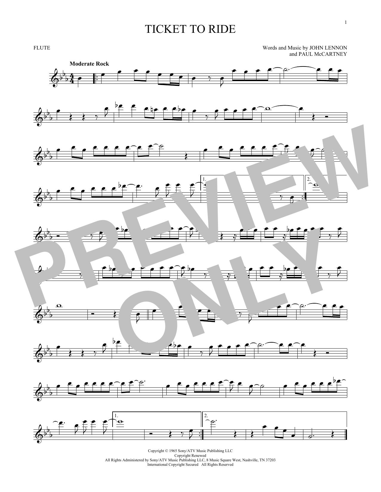 Partition flûte Ticket To Ride de The Beatles - Flute traversiere