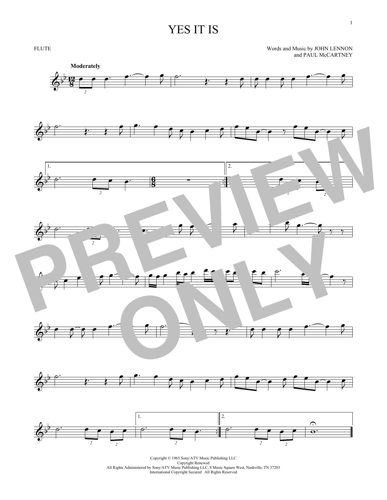 Partition flûte Yes It Is de The Beatles - Flute traversiere