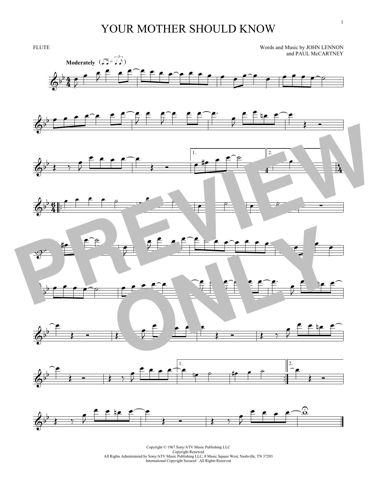 Partition flûte Your Mother Should Know de The Beatles - Flute traversiere