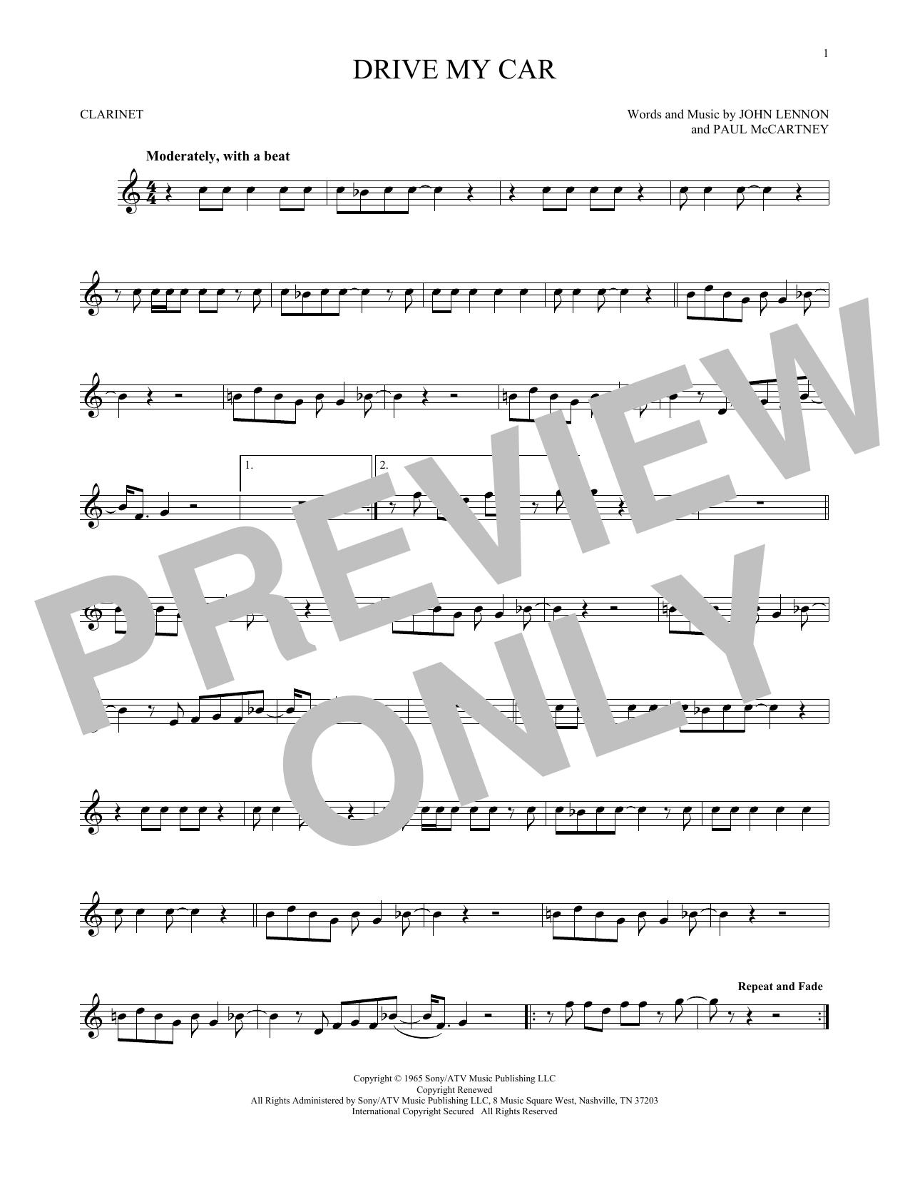 Partition clarinette Drive My Car de The Beatles - Clarinette