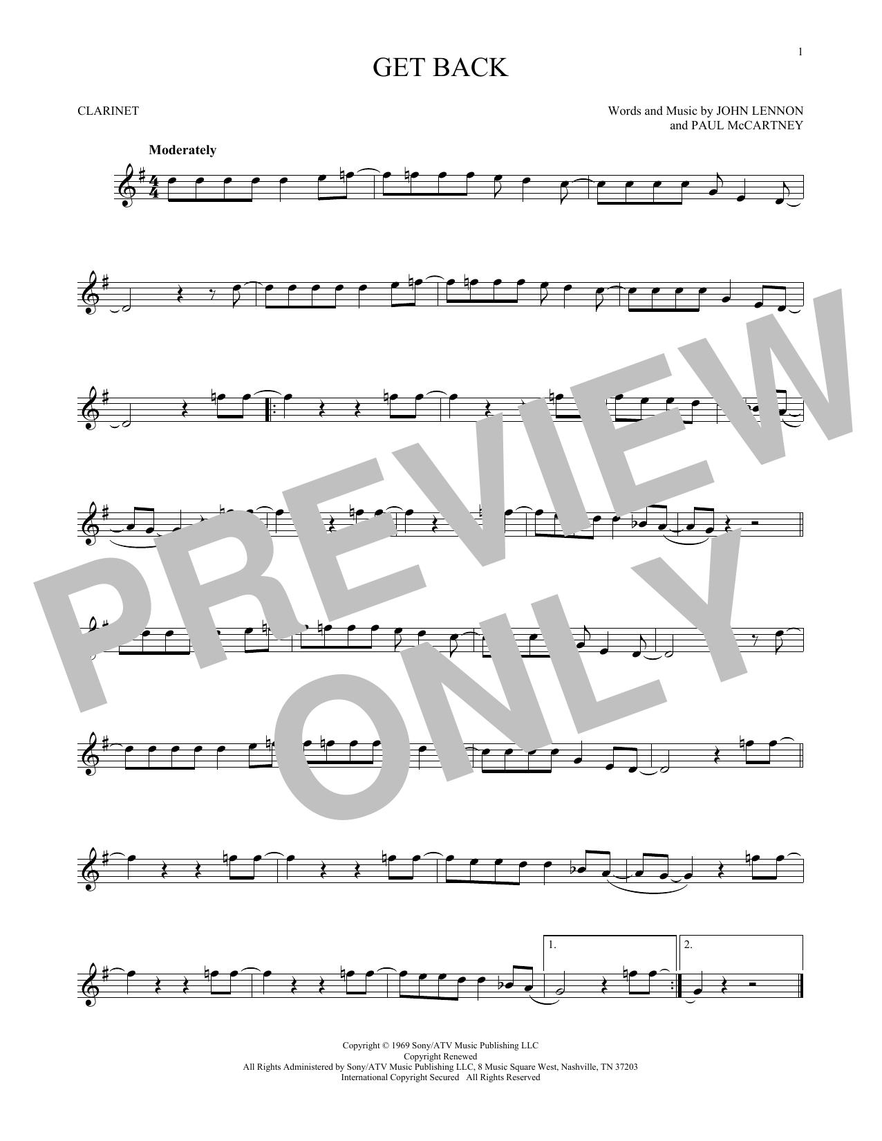 Partition clarinette Get Back de The Beatles - Clarinette