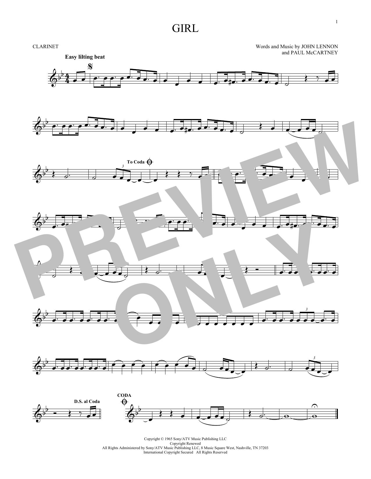 Partition clarinette Girl de The Beatles - Clarinette