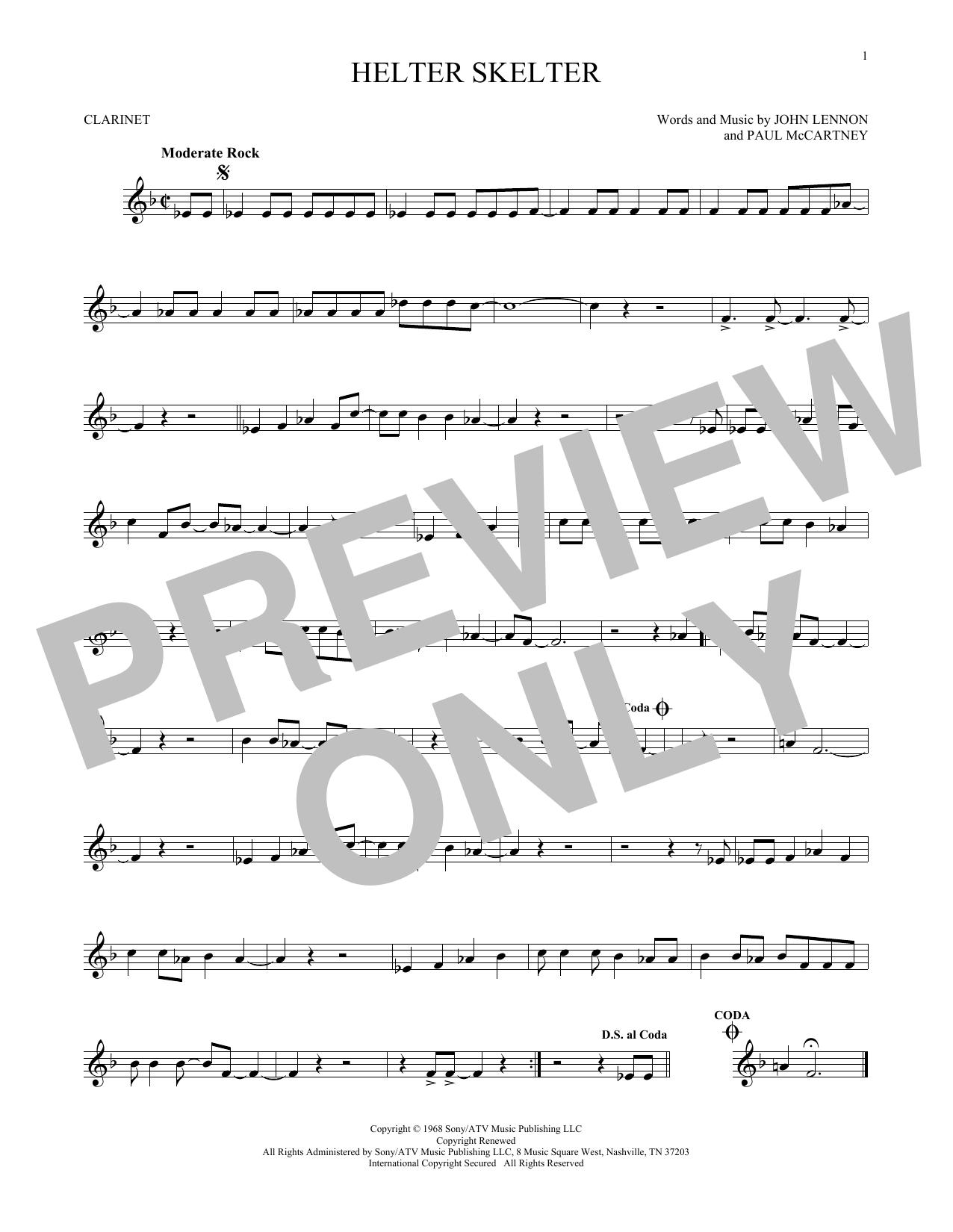 Partition clarinette Helter Skelter de The Beatles - Clarinette