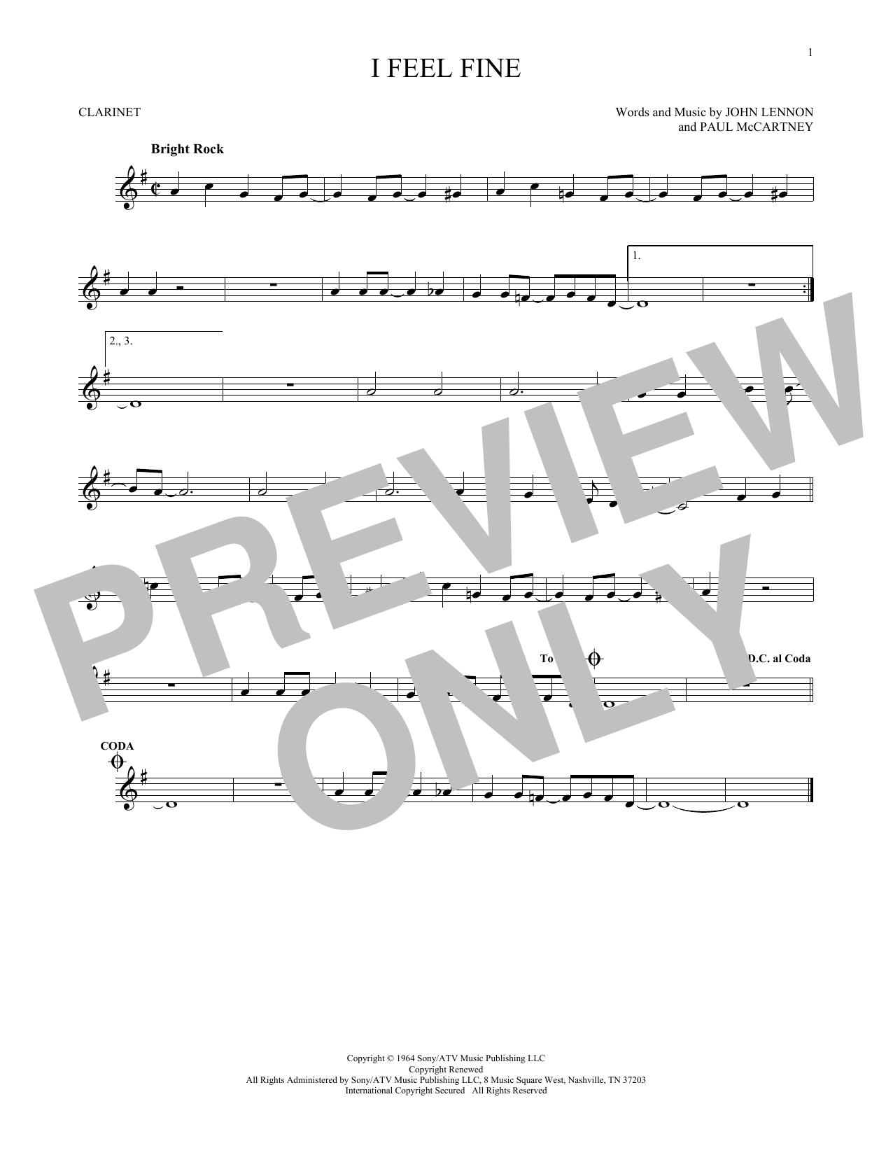 Partition clarinette I Feel Fine de The Beatles - Clarinette