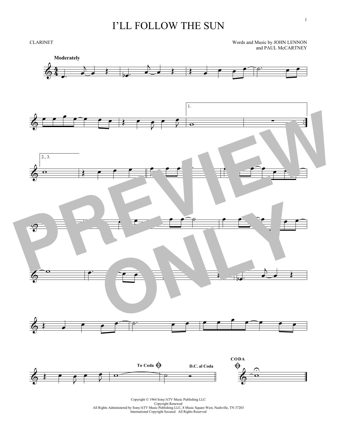 Partition clarinette I'll Follow The Sun de The Beatles - Clarinette