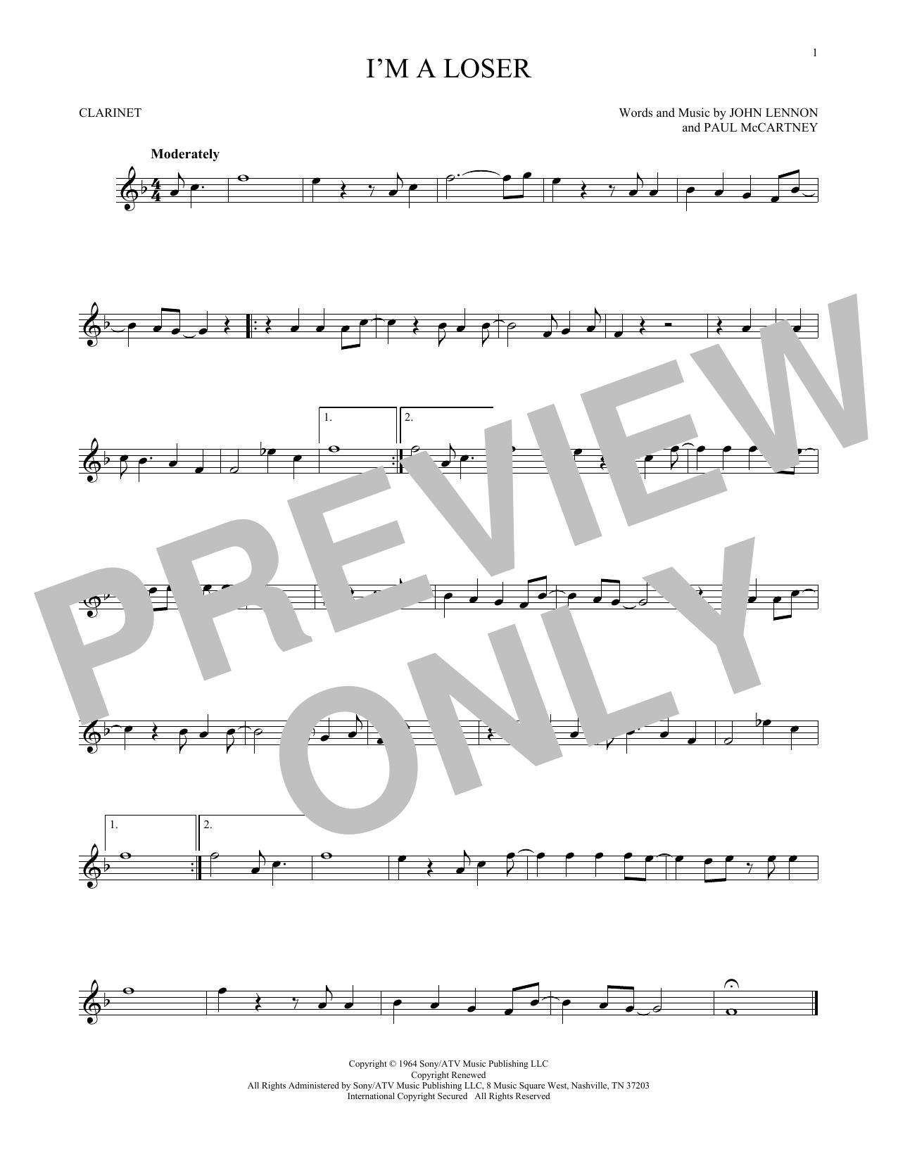 Partition clarinette I'm A Loser de The Beatles - Clarinette