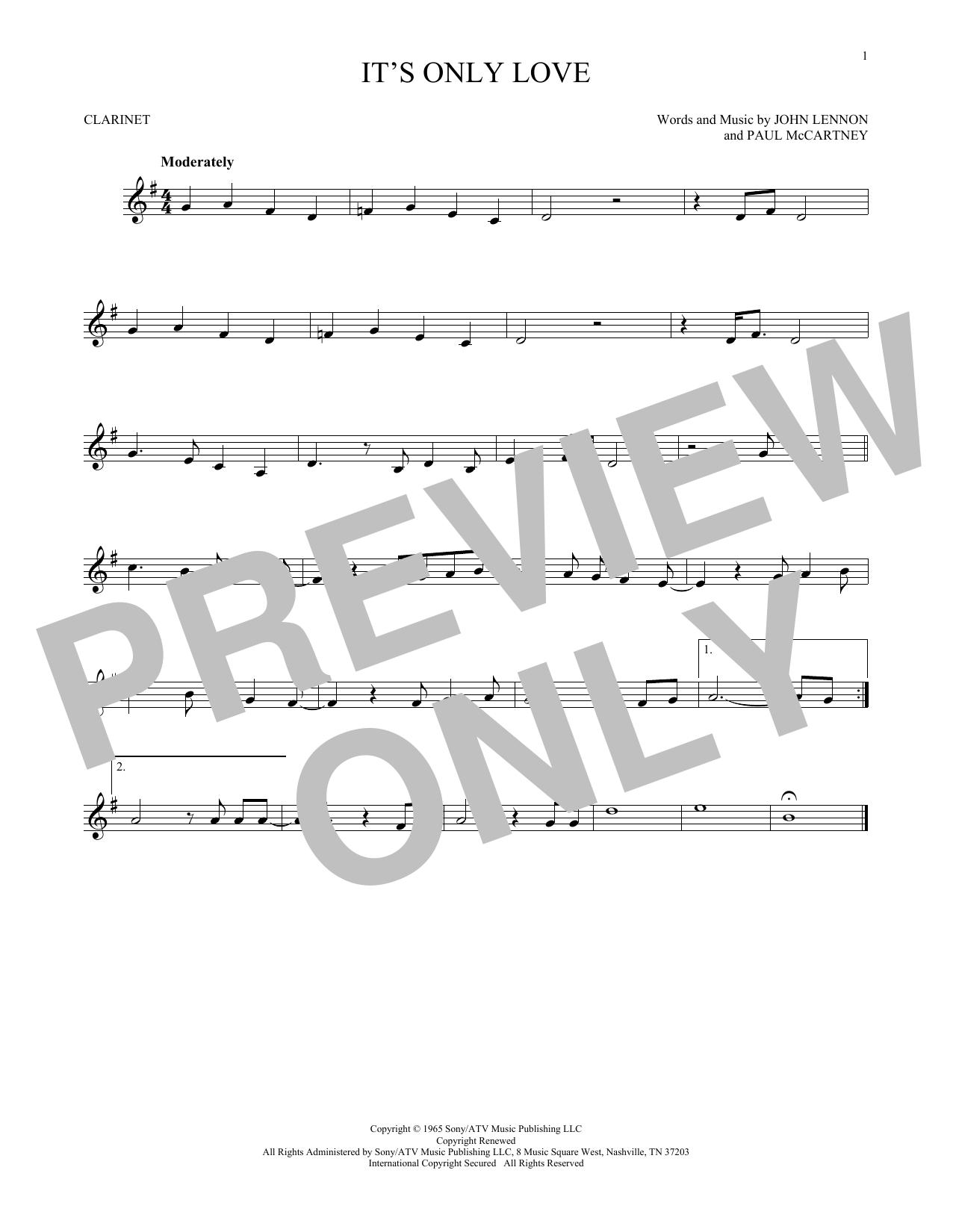 Partition clarinette It's Only Love de The Beatles - Clarinette