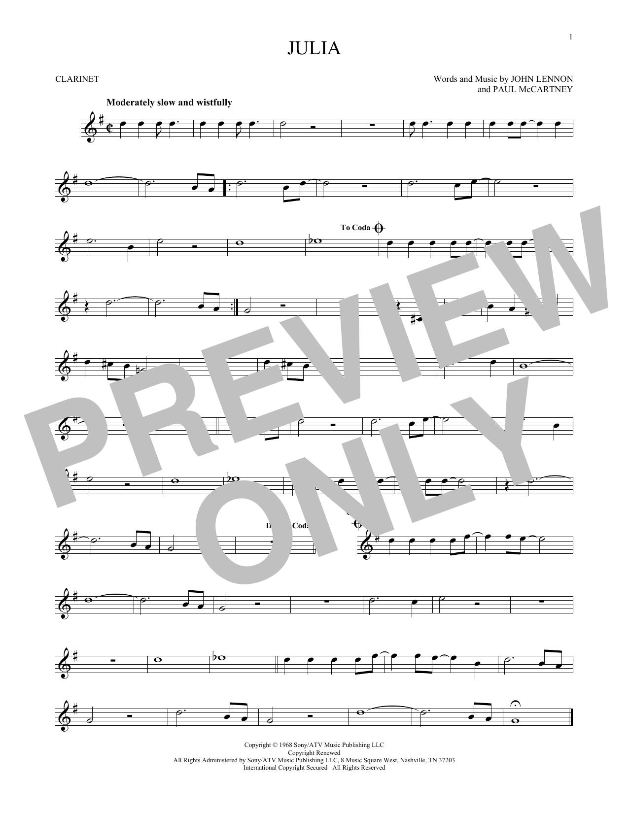 Partition clarinette Julia de The Beatles - Clarinette