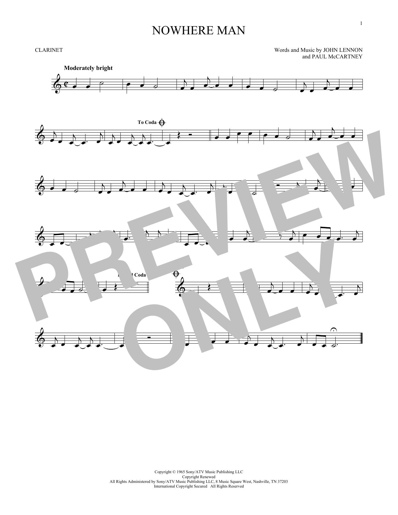 Partition clarinette Nowhere Man de The Beatles - Clarinette