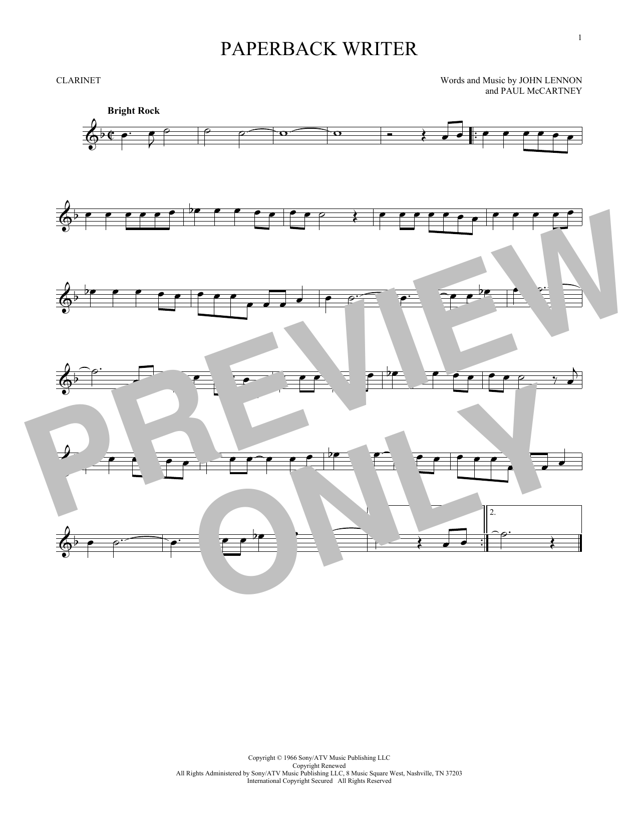 Partition clarinette Paperback Writer de The Beatles - Clarinette