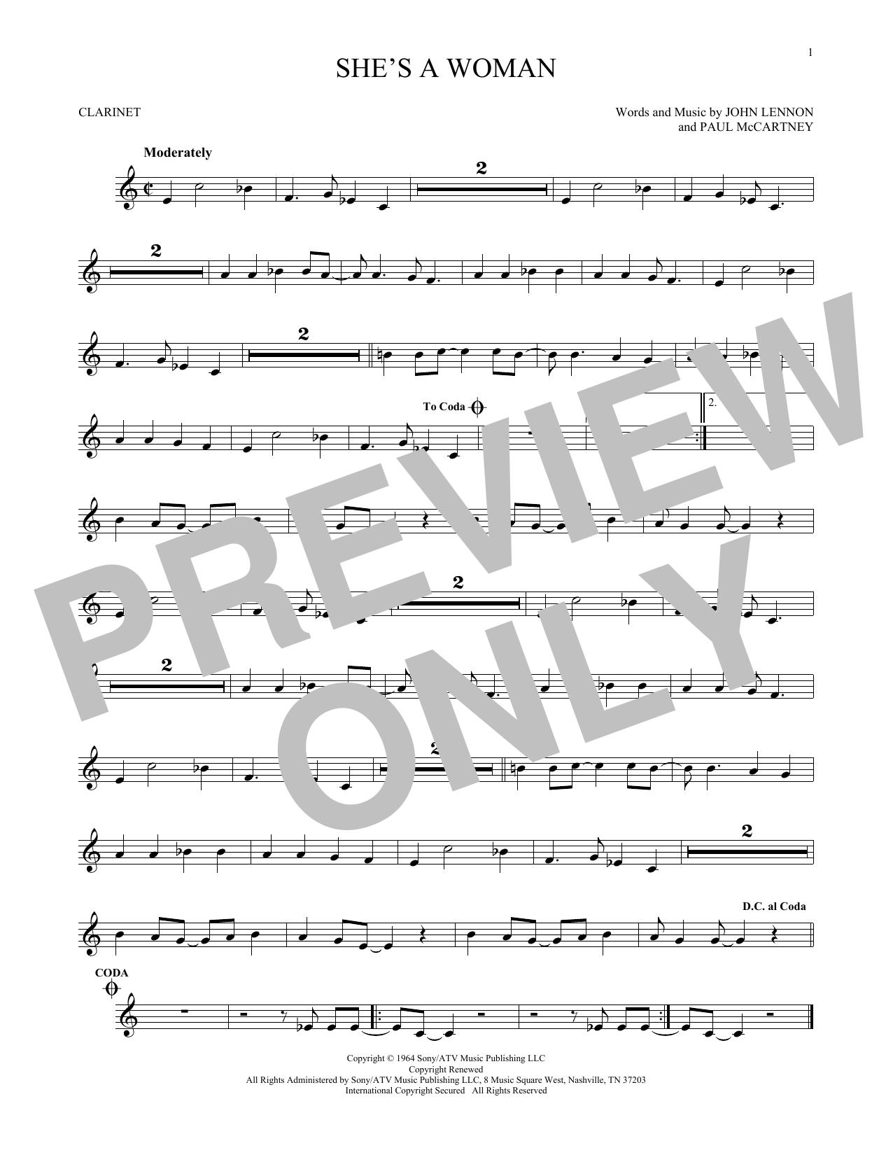 Partition clarinette She's A Woman de The Beatles - Clarinette