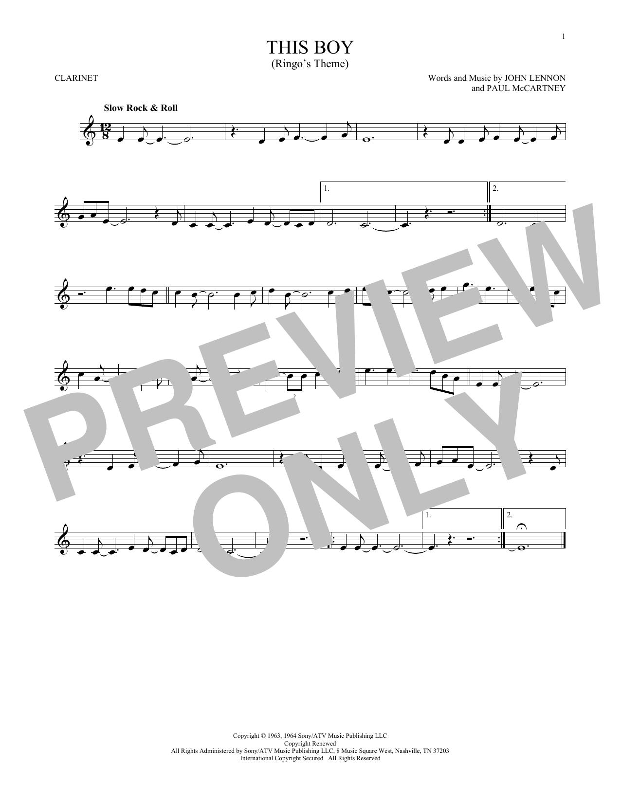 Partition clarinette This Boy (Ringo's Theme) de The Beatles - Clarinette