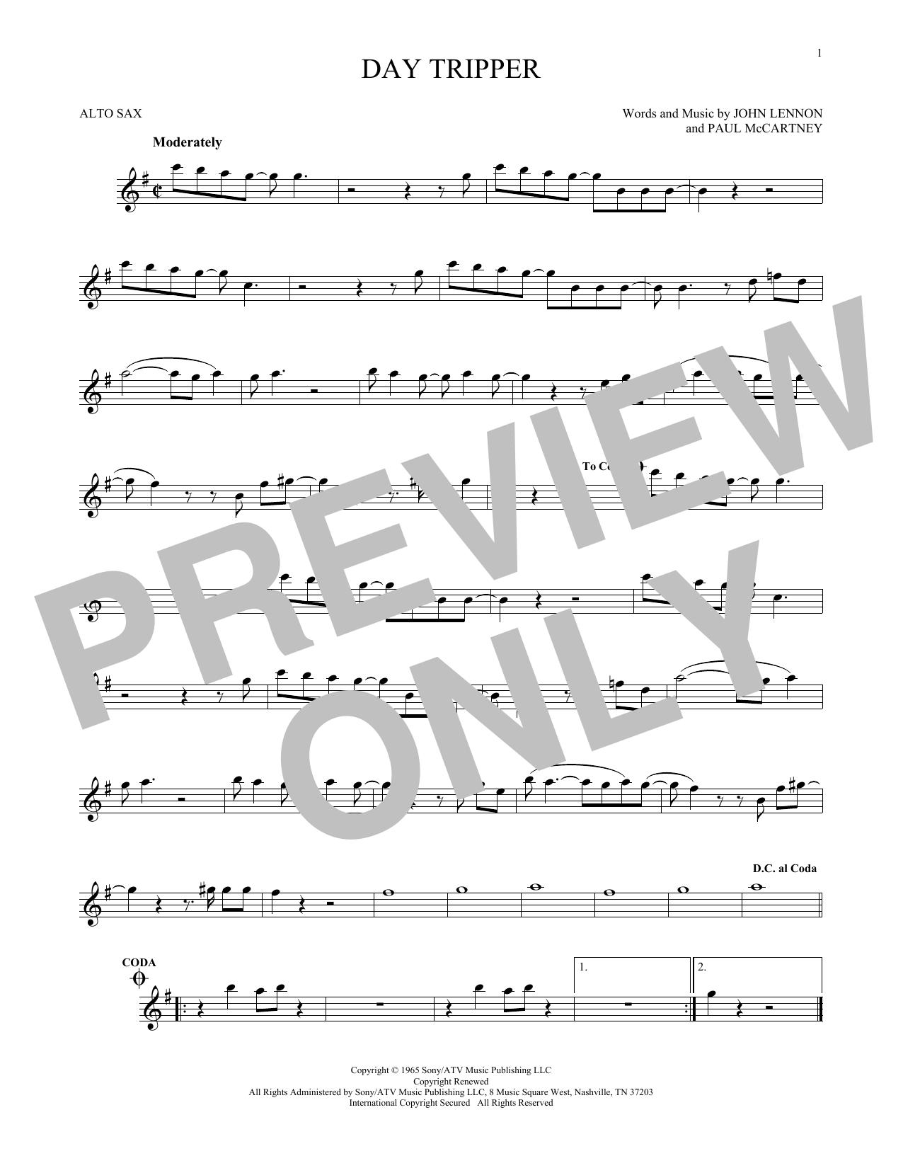 Partition saxophone Day Tripper de The Beatles - Sax Alto