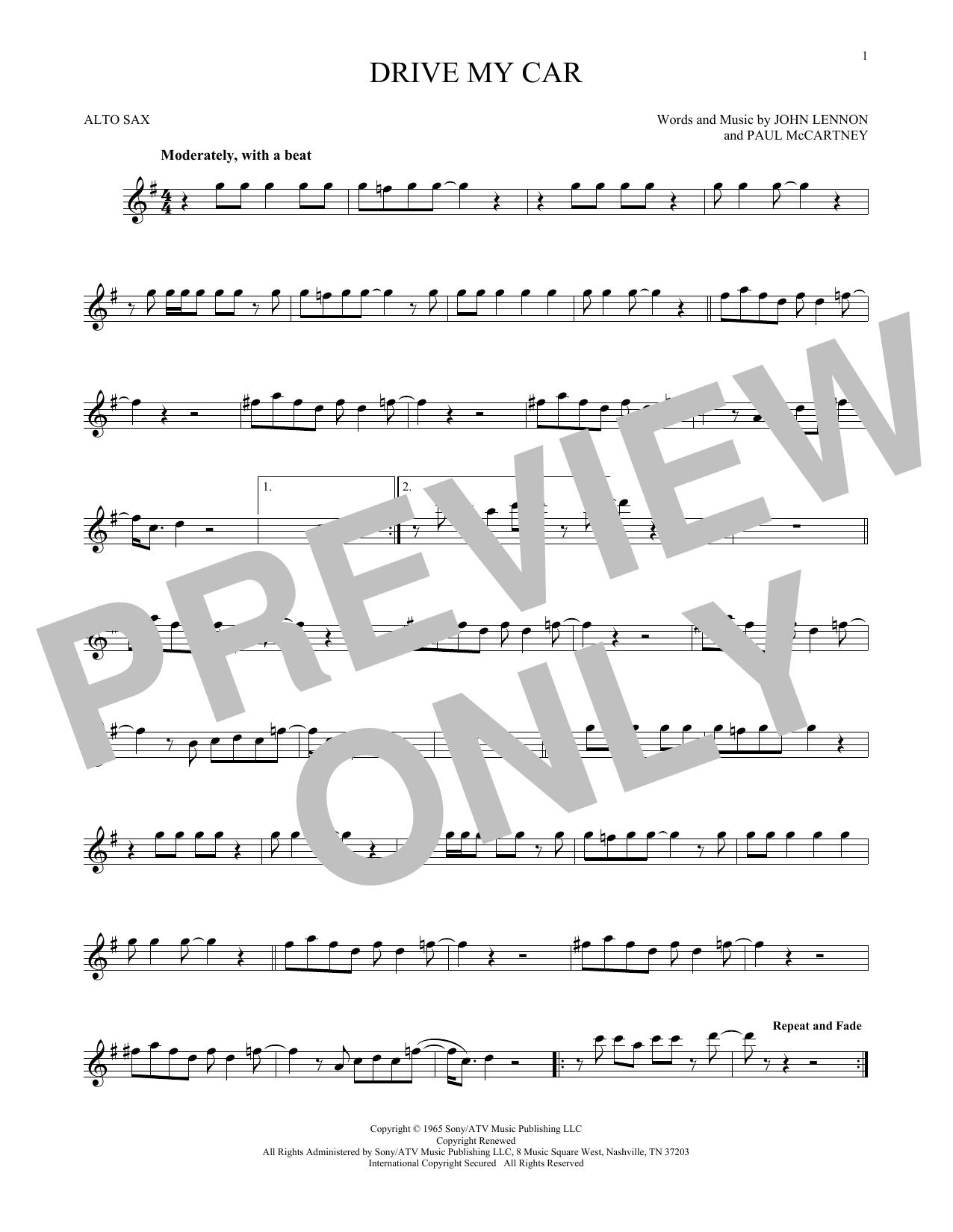Partition saxophone Drive My Car de The Beatles - Sax Alto