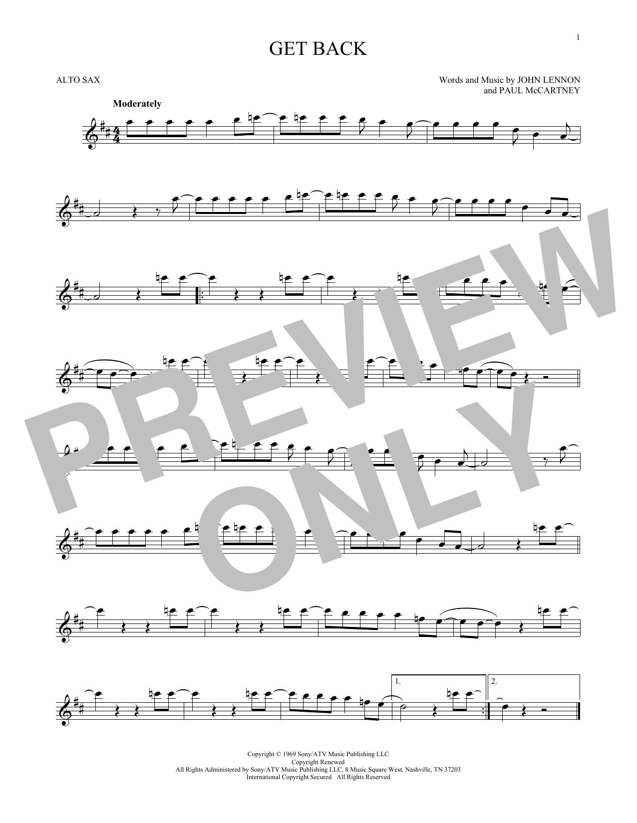 Partition saxophone Get Back de The Beatles - Sax Alto