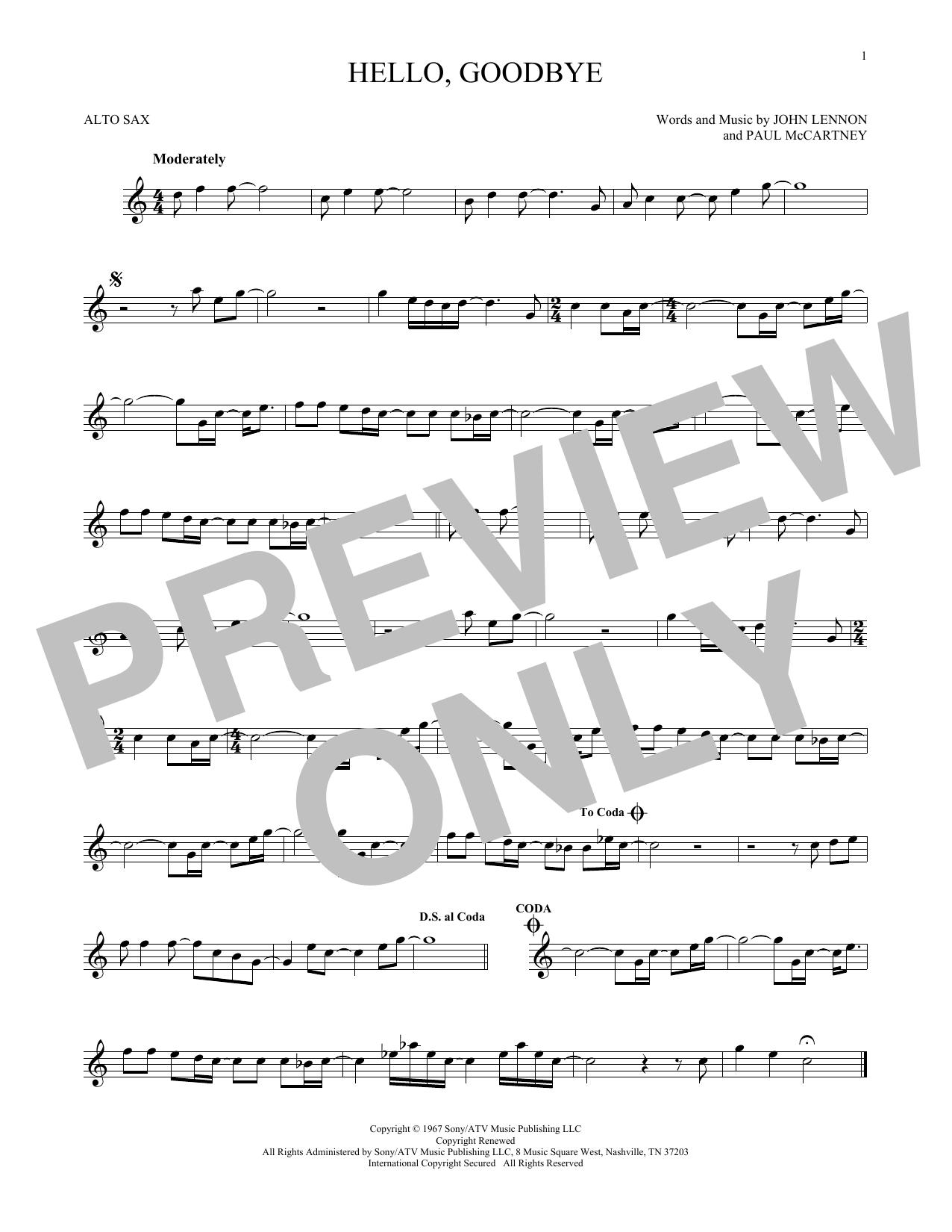 Partition saxophone Hello, Goodbye de The Beatles - Sax Alto