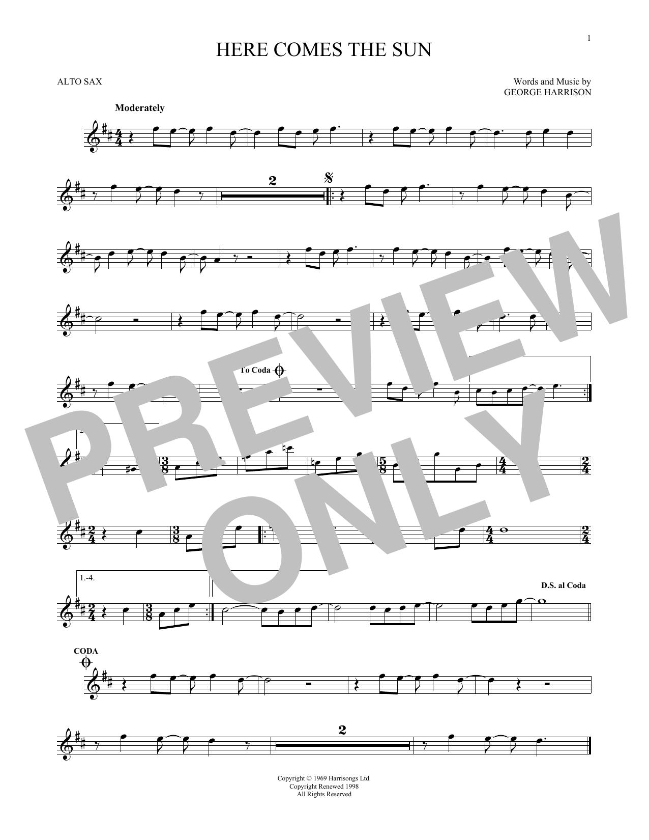 Partition saxophone Here Comes The Sun de The Beatles - Sax Alto