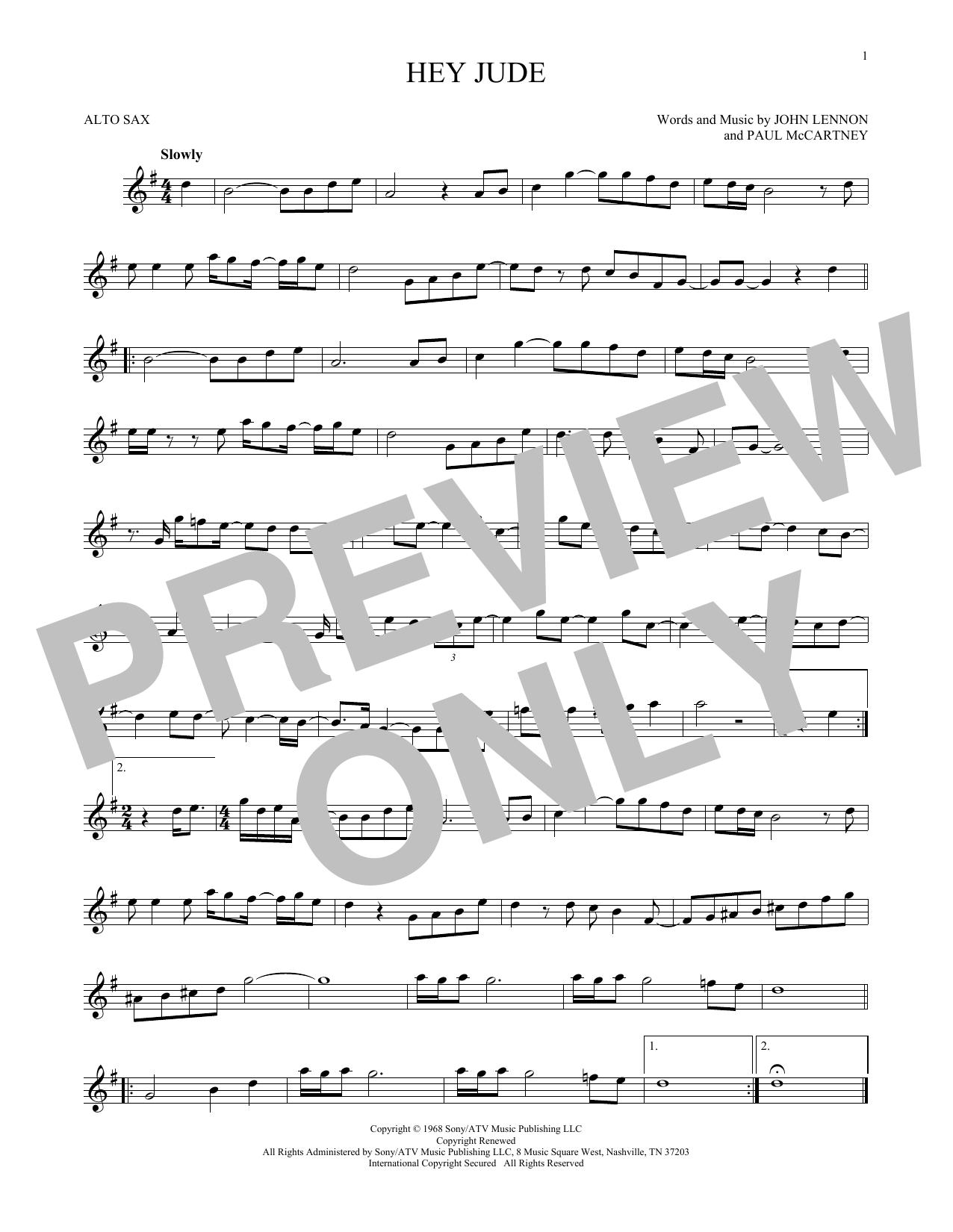 Partition saxophone Hey Jude de The Beatles - Sax Alto