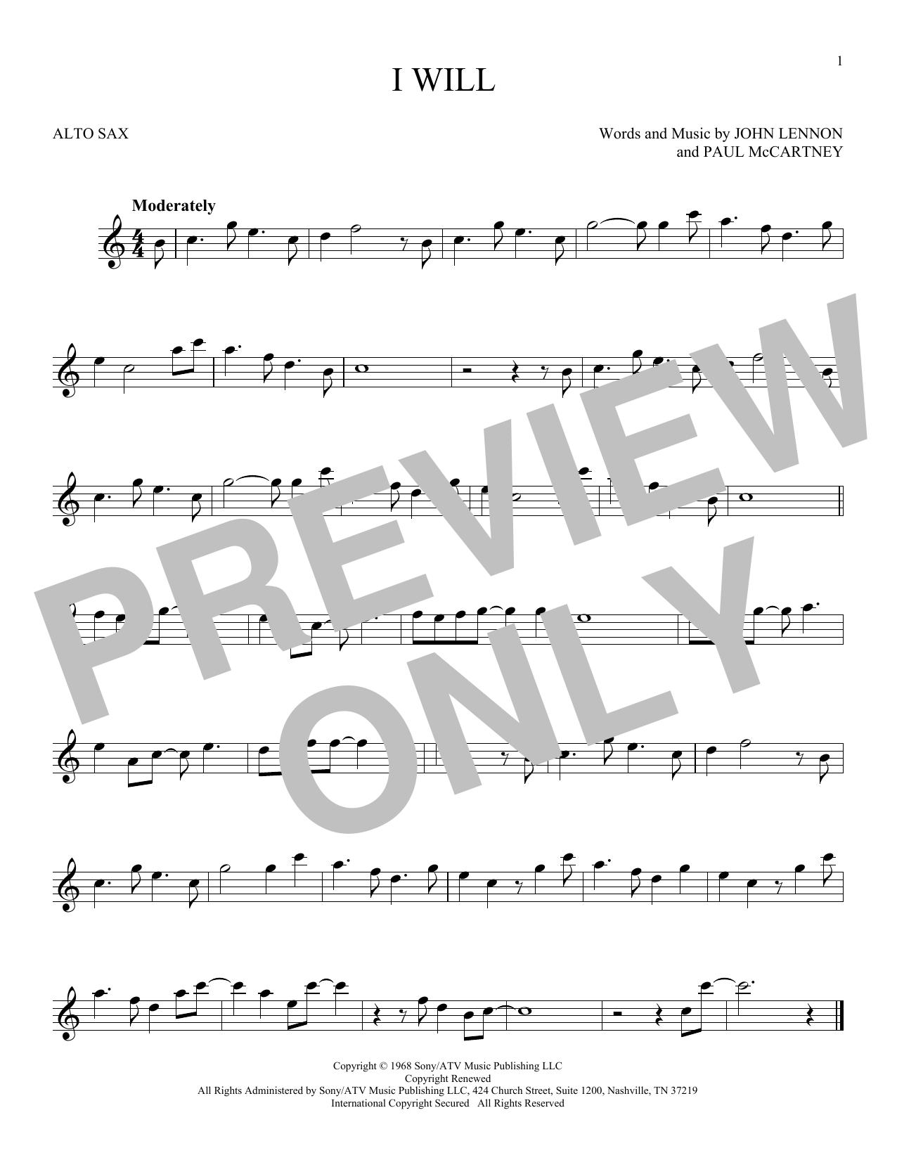 Partition saxophone I Will de The Beatles - Sax Alto
