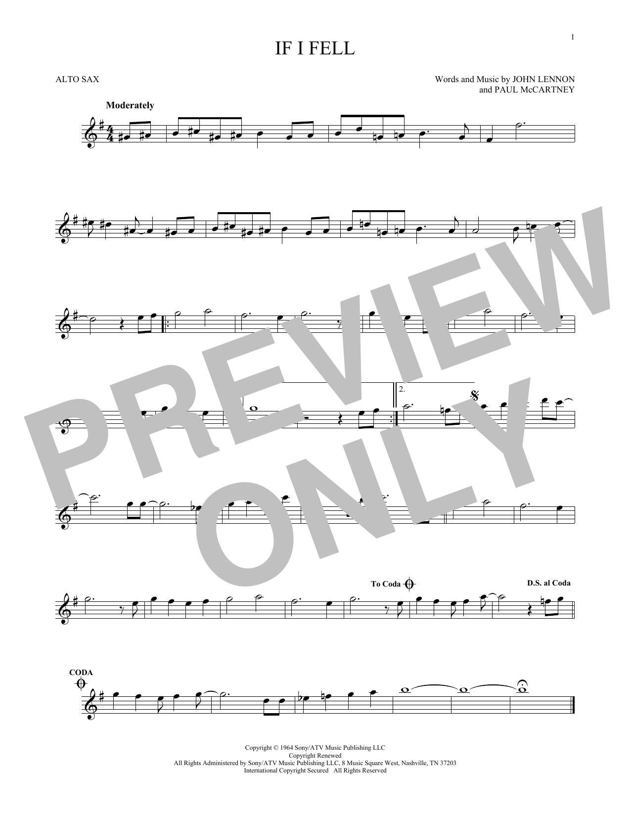 Partition saxophone If I Fell de The Beatles - Sax Alto