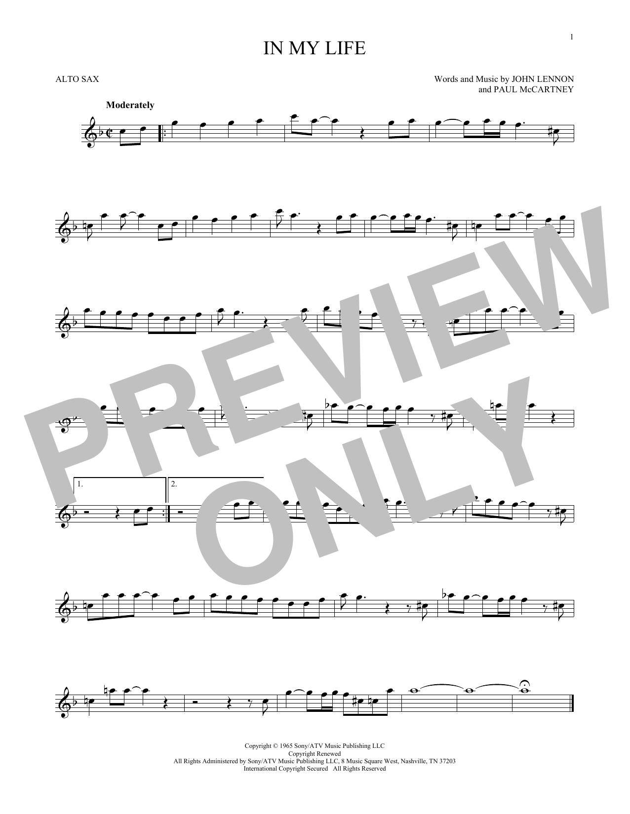 Partition saxophone In My Life de The Beatles - Sax Alto