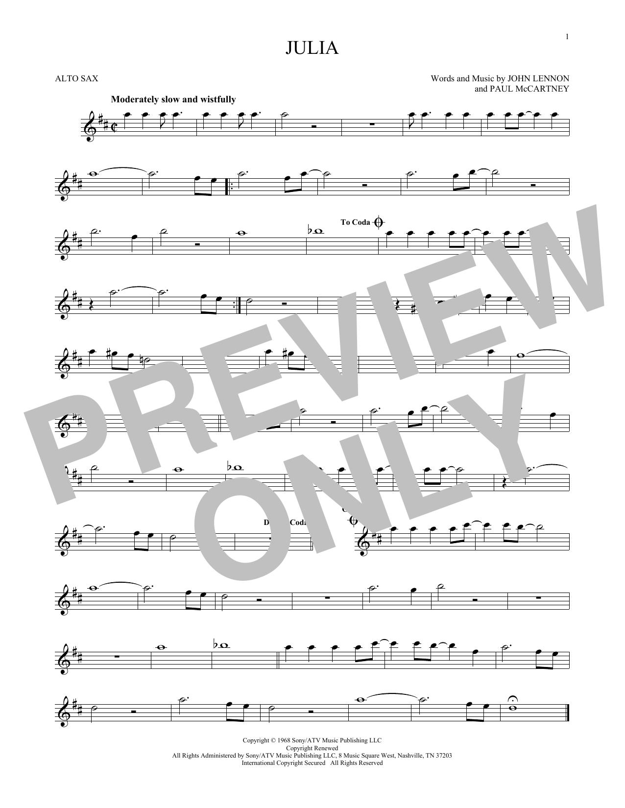Partition saxophone Julia de The Beatles - Sax Alto