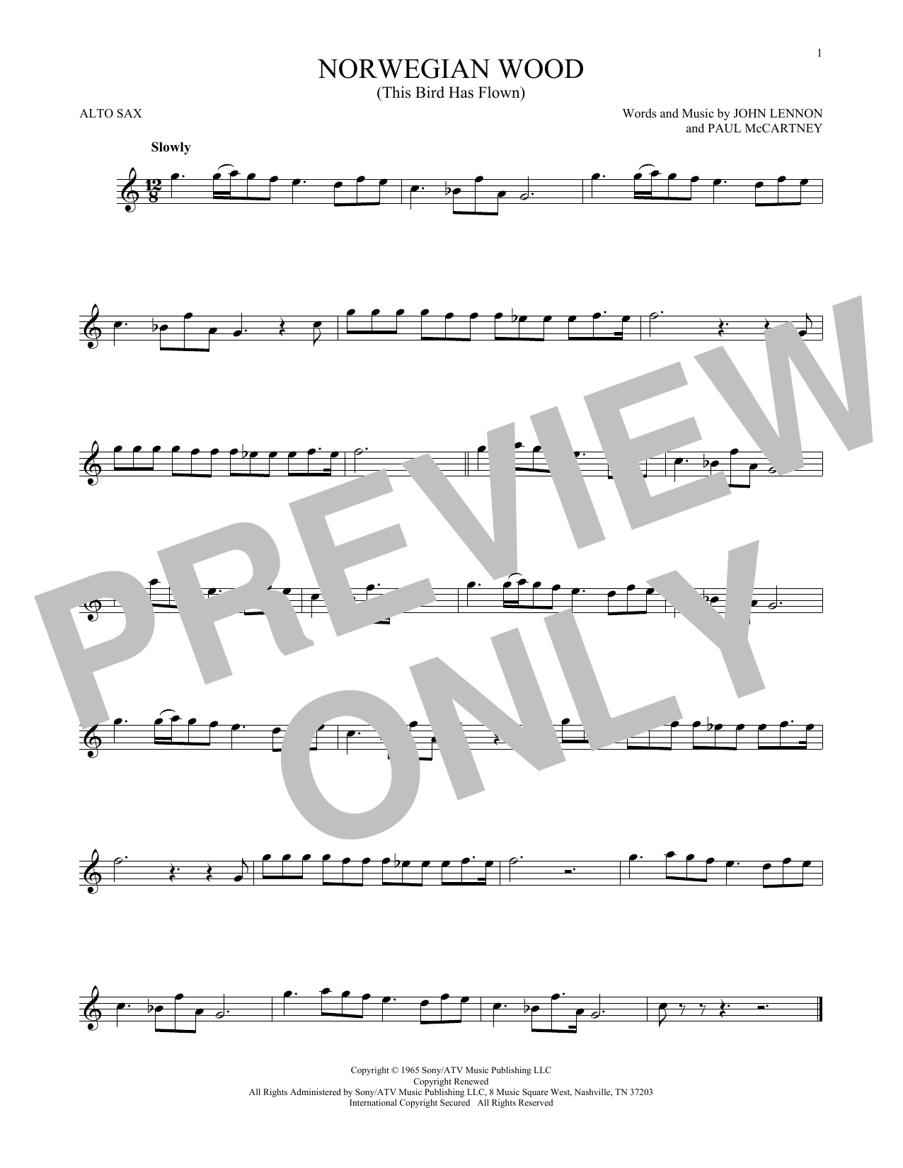 Partition saxophone Norwegian Wood (This Bird Has Flown) de The Beatles - Sax Alto