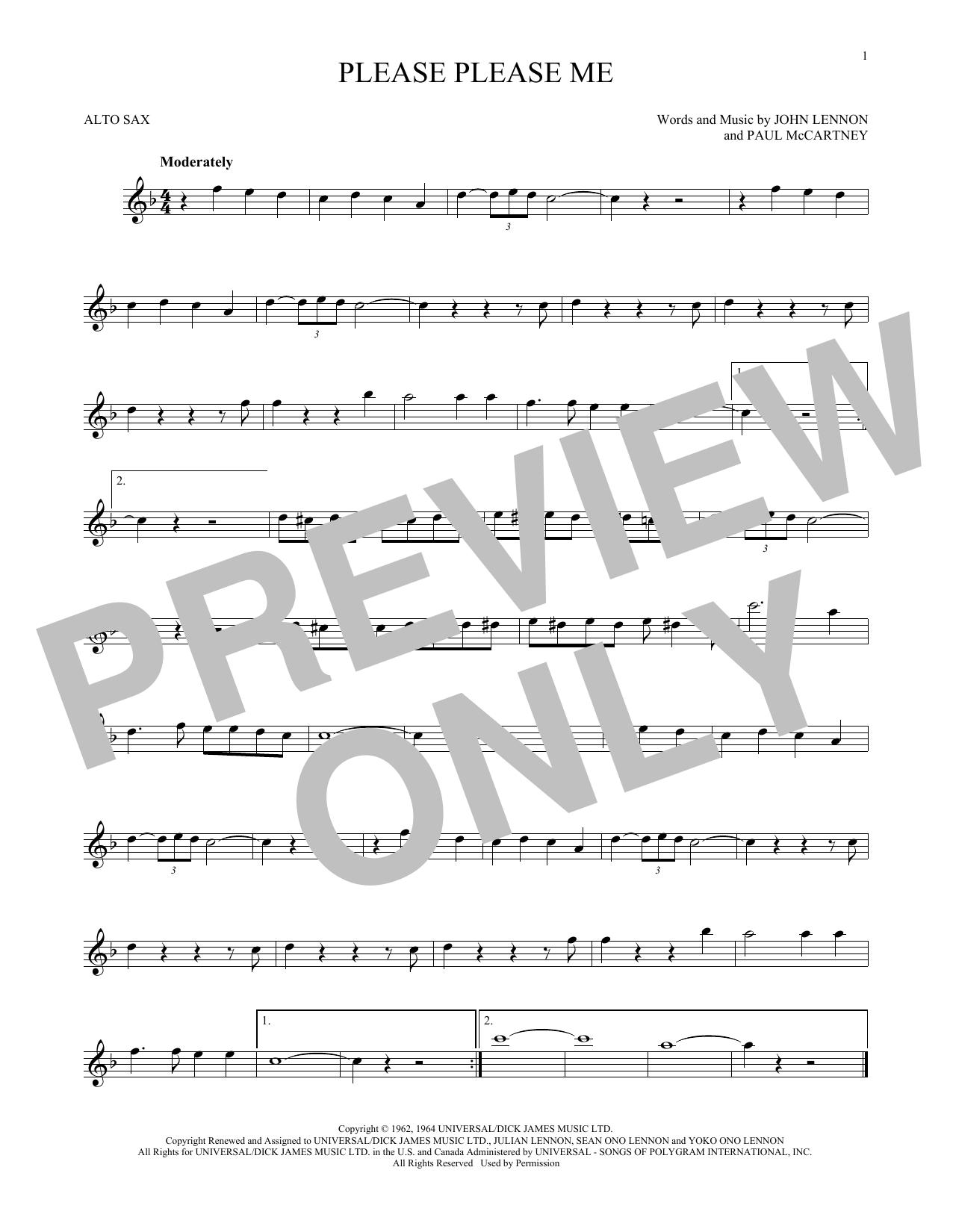 Partition saxophone Please Please Me de The Beatles - Sax Alto