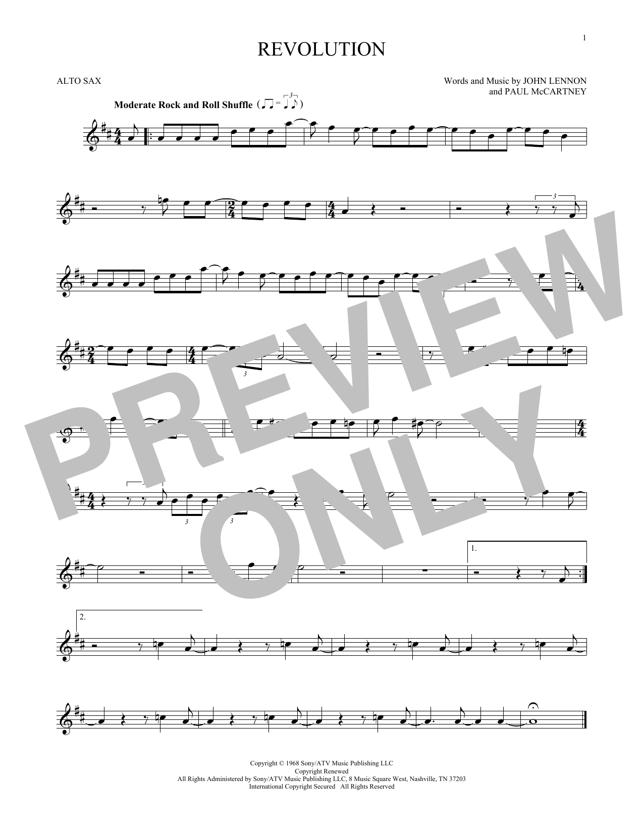 Partition saxophone Revolution de The Beatles - Sax Alto