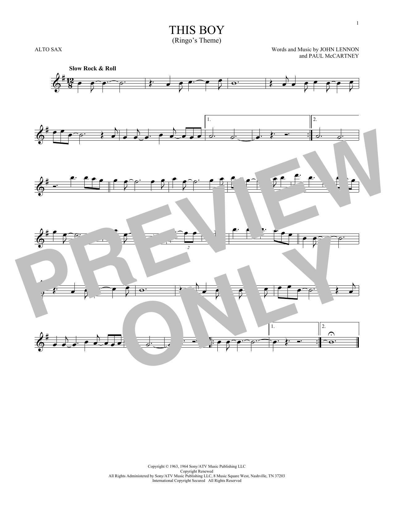 Partition saxophone This Boy (Ringo's Theme) de The Beatles - Sax Alto