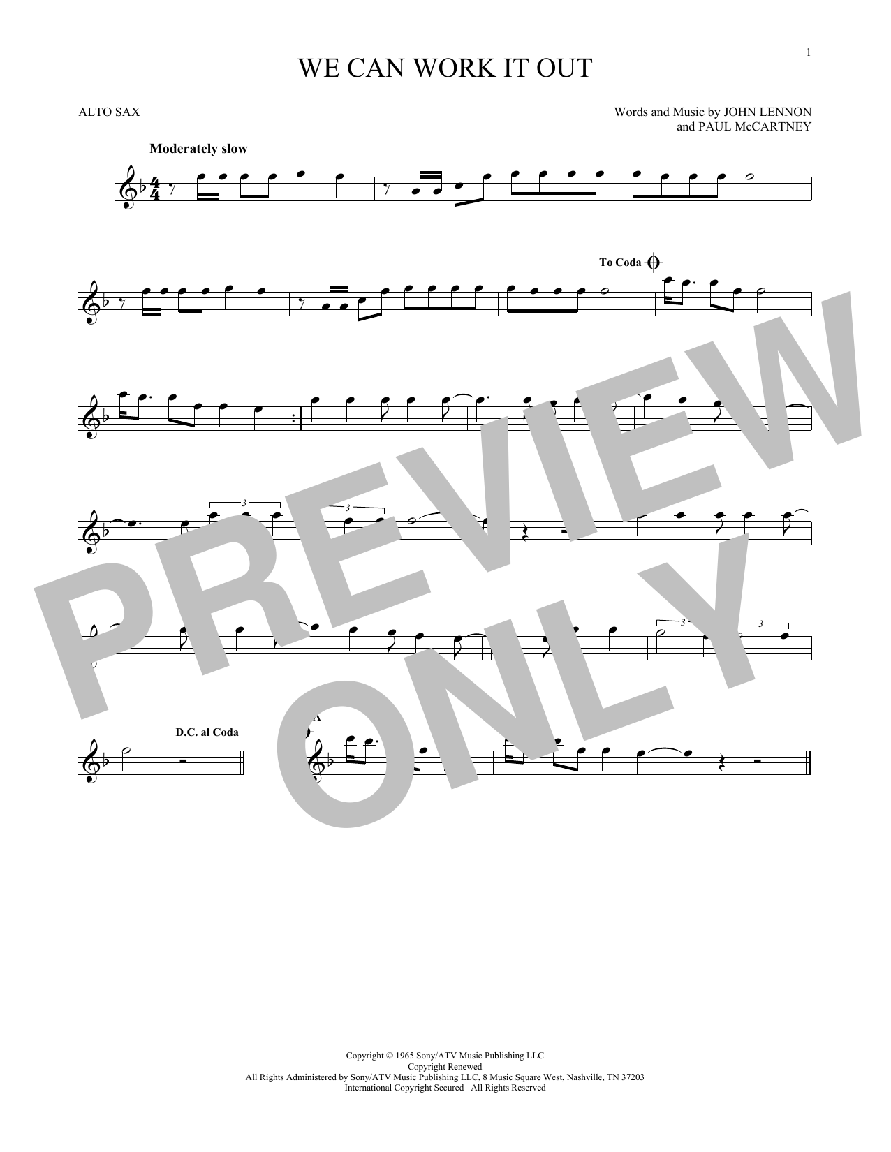 Partition saxophone We Can Work It Out de The Beatles - Sax Alto