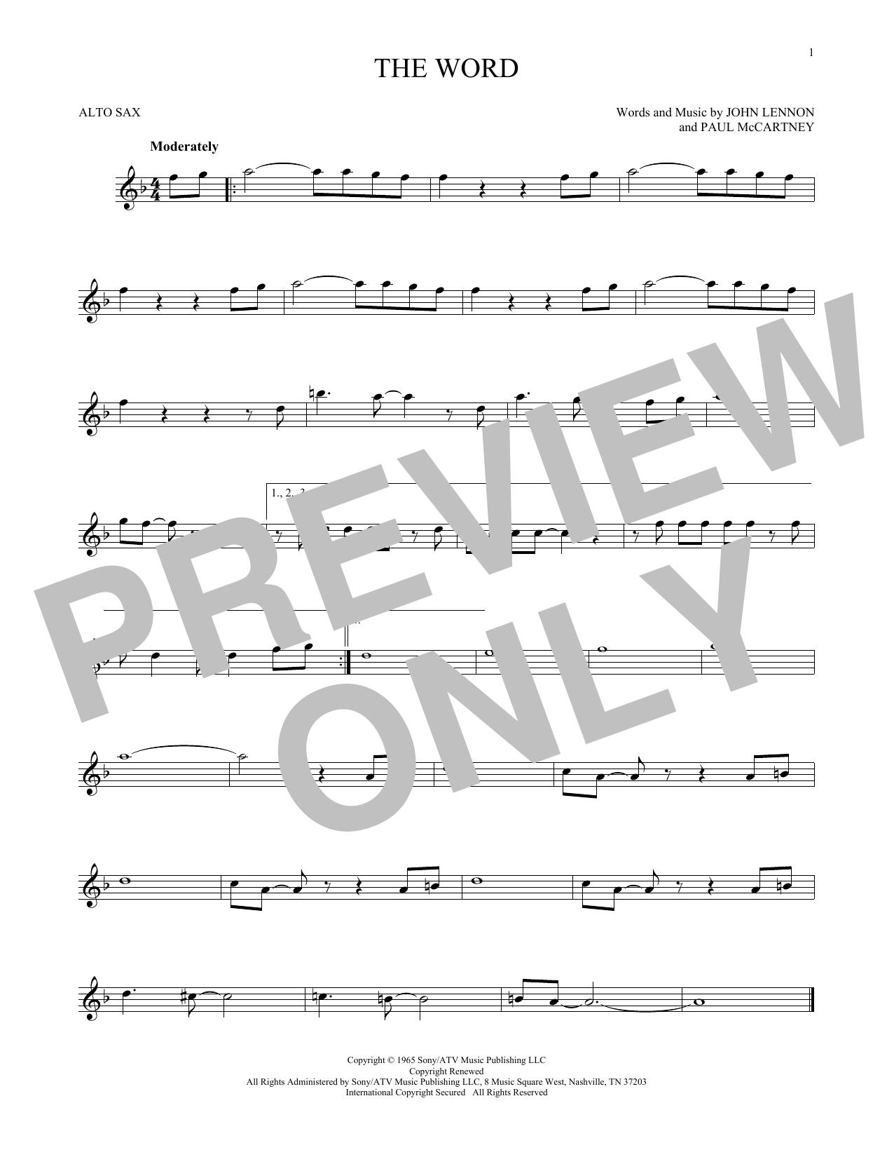 Partition saxophone The Word de The Beatles - Sax Alto