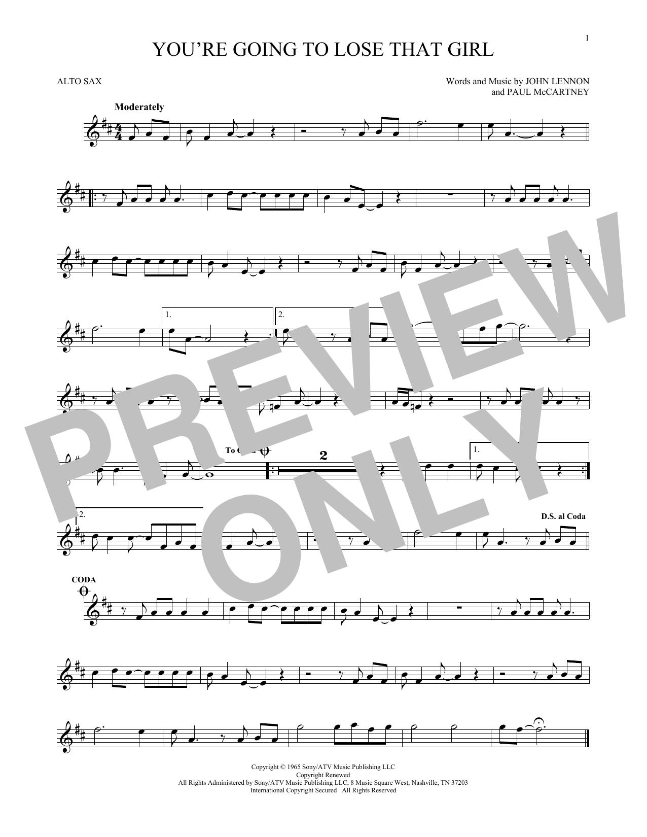 Partition saxophone You're Going To Lose That Girl de The Beatles - Sax Alto