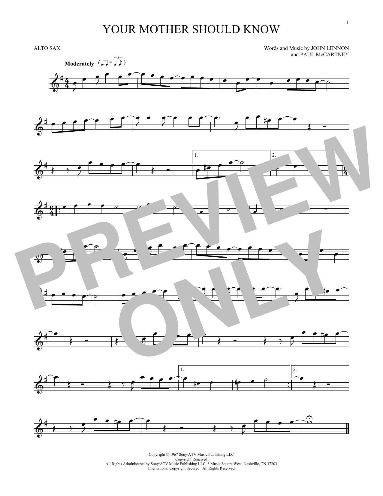 Partition saxophone Your Mother Should Know de The Beatles - Sax Alto
