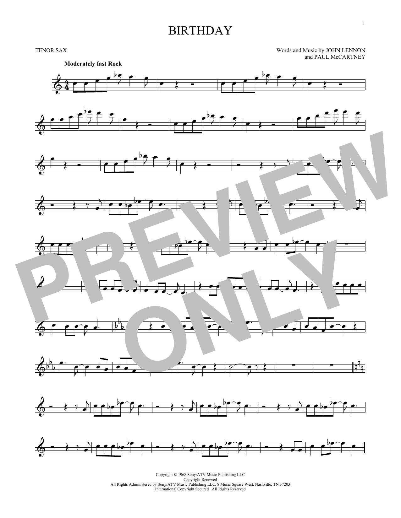 Partition saxophone Birthday de The Beatles - Sax Tenor