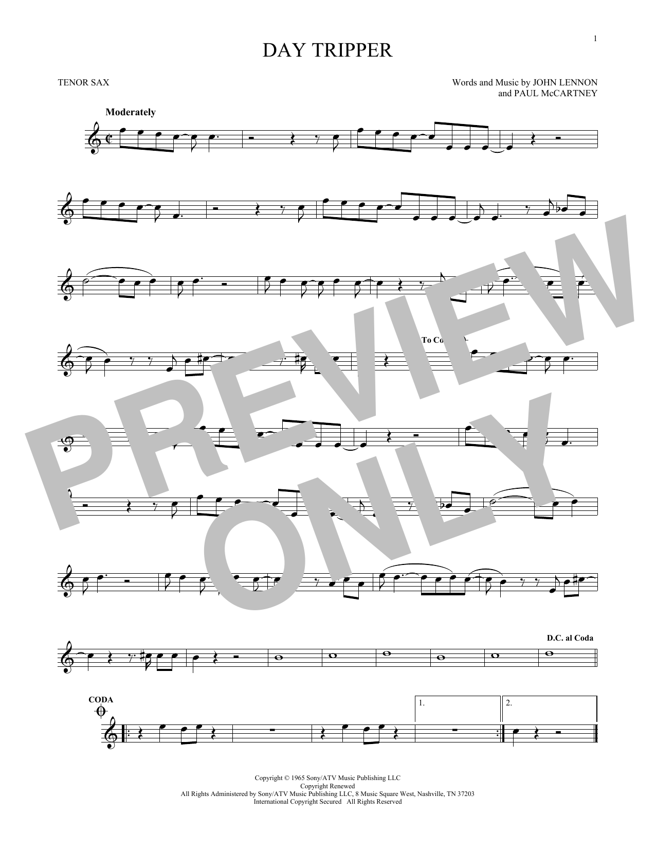 Partition saxophone Day Tripper de The Beatles - Sax Tenor