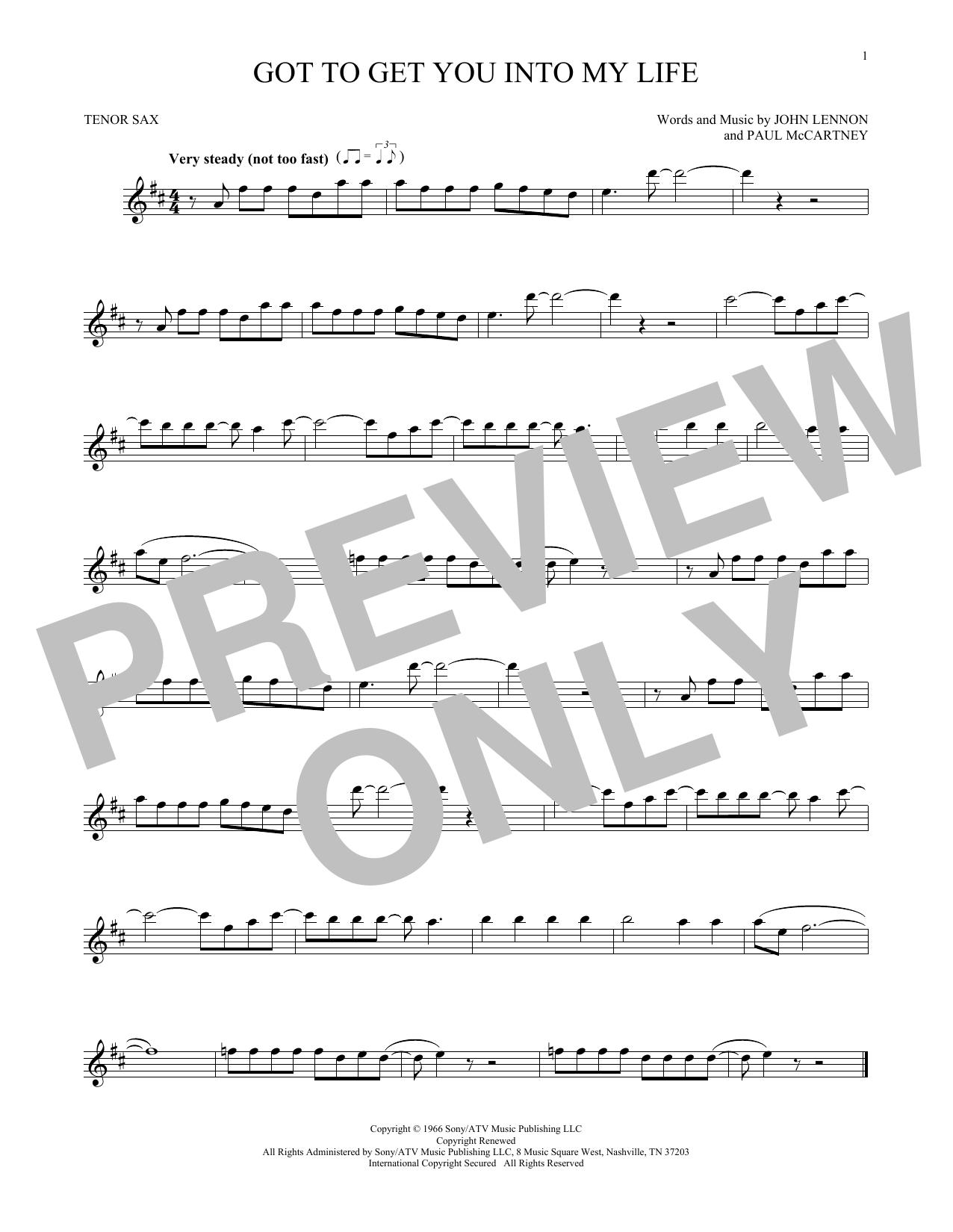 Partition saxophone Got To Get You Into My Life de The Beatles - Sax Tenor