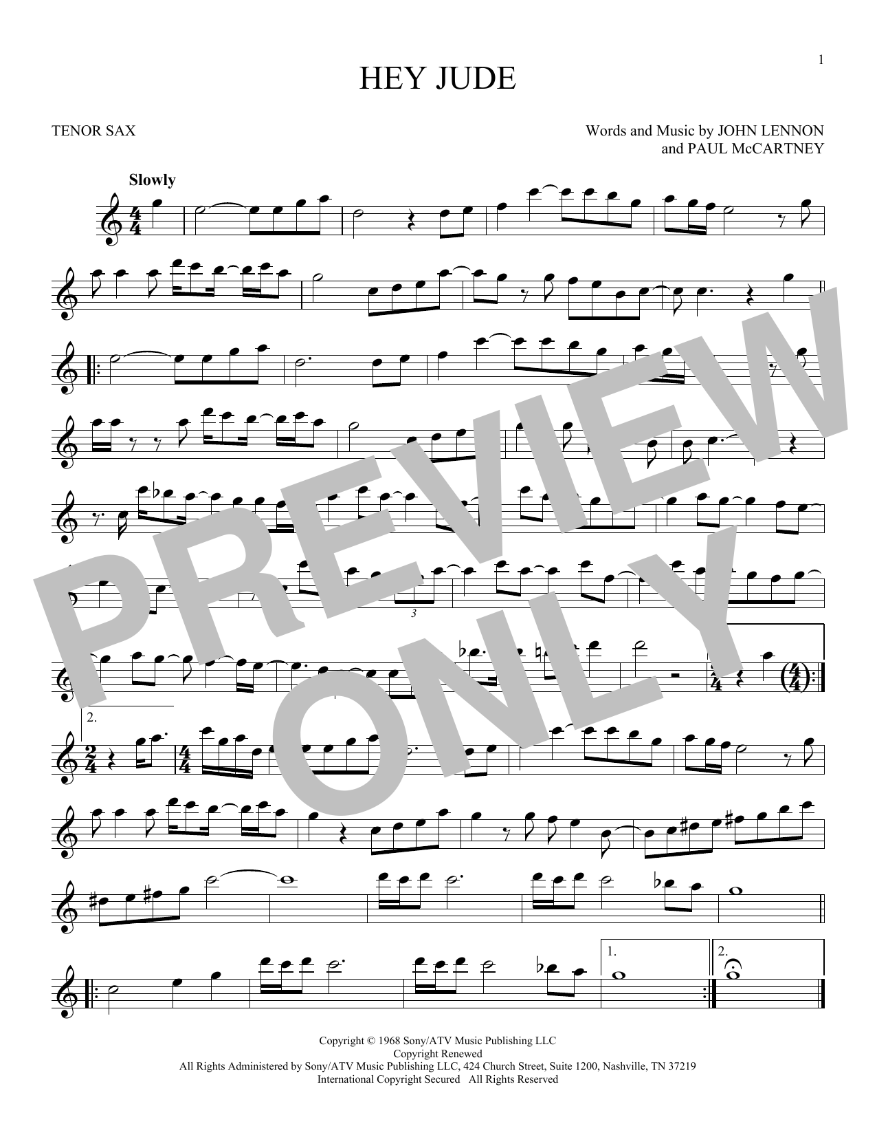 Partition saxophone Hey Jude de The Beatles - Sax Tenor